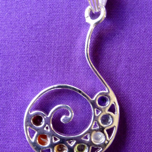 Chakra swirl sterling silver plated pendant