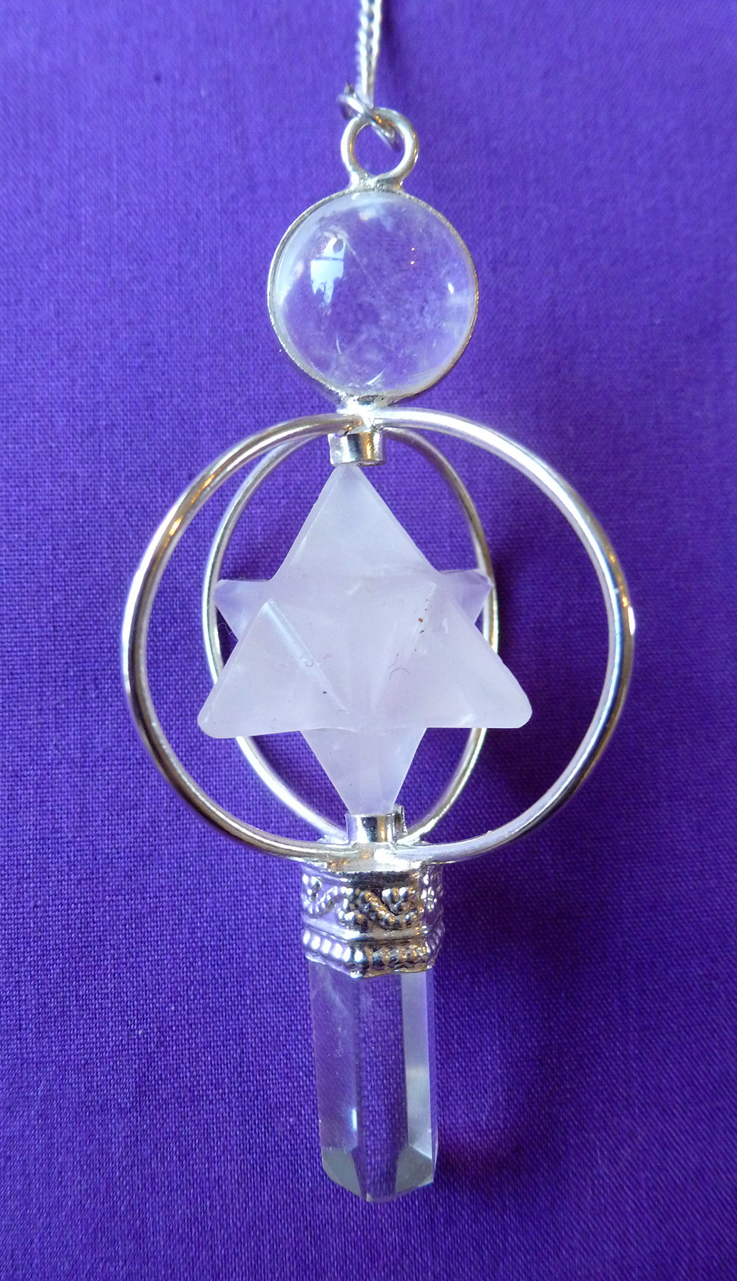 White and clear quartz merkaba pendulum