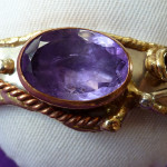 Faceted Amethyst Tricolour metal Bangle