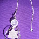 White and clear quartz merkaba pendulum